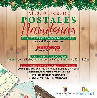 La Regidoria de Joventut de Finestrat organitza la XI edició del Concurs de Postals Nadalenques