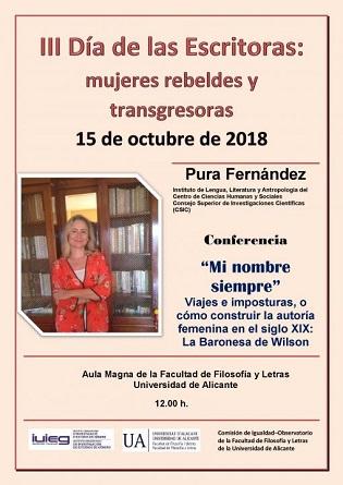 La Universitat d'Alacant commemora el dilluns 15 el Dia de les Escriptores amb el Club de Lectura i la conferència de Pura Fernández
