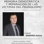El Magistrado Joaquim Bosch hablará de Memoria Democrática y reparación de las víctimas del Franquismo en un acto organizado por la Sede Universitaria de Villena