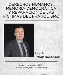 El magistrat Joaquim Bosch parlarà de memòria democràtica i reparació de les víctimes del franquisme en un acte organitzat per la Seu Universitària de Villena