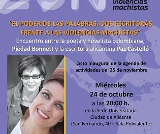 Les escriptores Piedad Bonnett i Paz Castelló es troben a la Seu Ciutat d'Alacant per a parlar de literatura i violències masclistes