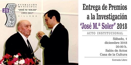 Entrega de premios de la Fundación José María Soler 2018 de Villena