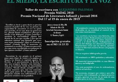"""Taller de escritura creativa de Alejandro Palomas: """"El miedo, la escritura y la voz"""""""
