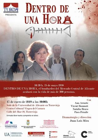"""La Seu Universitària de Torrevella programa l'obra teatral """"Dentro de una hora"""""""