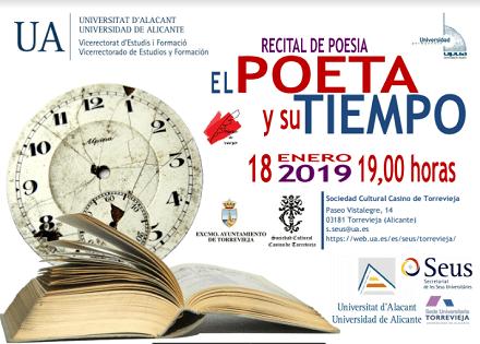 """La Sede Universitaria de Torrevieja programa el recital de poesía """"El poeta y su tiempo"""" de la mano de la Universidad Permanente de la UA"""