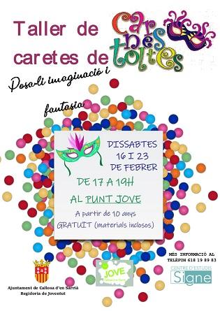 El Punt Jove de Callosa d'en Sarrià organiza un taller gratuito de caretas de carnaval