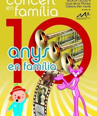La AAM celebra el próximo 16 de febrero el décimo aniversario de su Concierto en Familia en Callosa d'en Sarrià