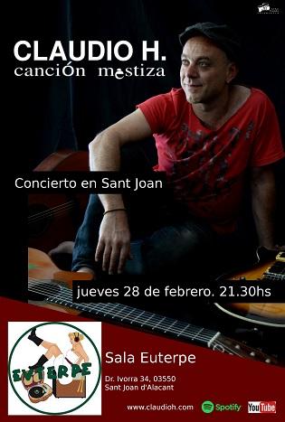 Concert de Claudio H. a la Sala Euterpe de Sant Joan