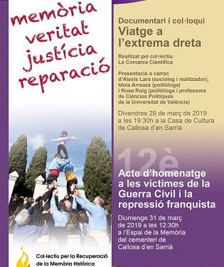 Actos por la recuperación de la memoria histórica en Callosa d'en Sarrià