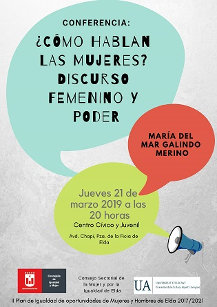 El Ayuntamiento de Elda organiza una conferencia para analizar las características del discurso femenino