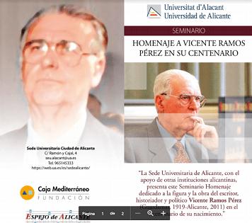 Este miércoles se inaugura en Alicante un Seminario dedicado a Vicente Ramos
