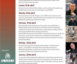 Xàbia organiza encuentros literarios con el escritor Javier Reverte y el poeta Antonio Hernández dentro de los actos por el Día del Libro