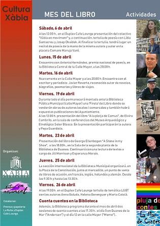 Xàbia organitza trobades literàries amb l'escriptor Javier *Reverte i el poeta Antonio Hernández dins dels actes pel Dia del Llibre