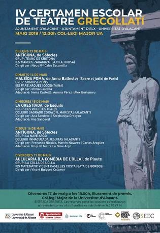 Comienza el IV Certamen escolar de teatre grecollatí Alacant-Elx