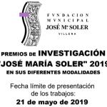"""La Fundación Municipal """"José María Soler"""" informa que el próximo 21 de mayo finaliza el plazo de presentación de los Premios de Investigación e Iniciación a la Investigación José María Soler"""