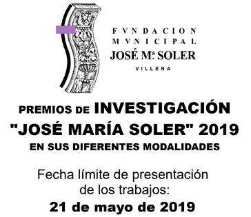 """La Fundació Municipal """"José María Soler"""" informa que el pròxim 21 de maig finalitza el termini de presentació dels Premis d'Investigació i Iniciació a la Investigació José María Soler"""