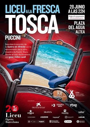 La plaça de l'Aigua d'Altea projectarà el divendres l'òpera 'Tosca' de Puccini que tindrà lloc al Liceu de Barcelona