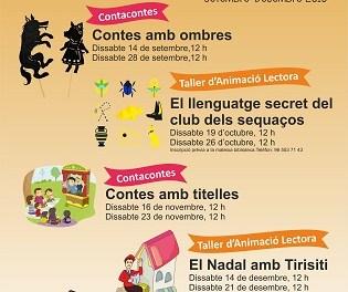 Conta Contes i Tallers d'animació lectora en la programació de la  biblioteca Tirisiti per al darrer trimestre de l'any
