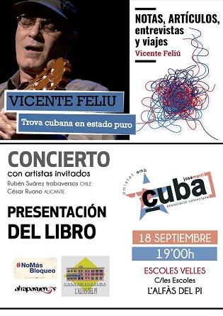 El trobador cubà Vicente Feliu oferirà un concert aquest dimecres a l'Alfàs del Pi