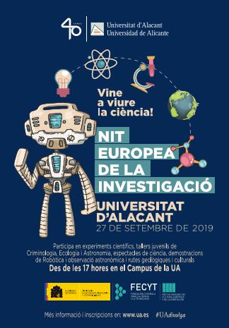 El 23 de setembre s'obri el termini d'inscripció per a tallers i rutes a peu programades per a la Nit Europea de la Investigació 2019 a la UA