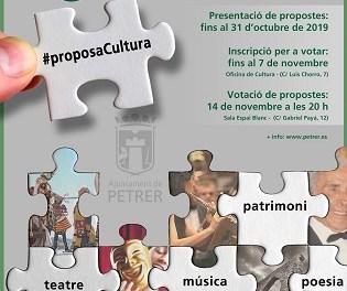 """La regidoria de Cultura de Petrer convoca la sisena edició de """"Proposa Cultura"""" perquè veïns i col·lectius puguen presentar les seues propostes culturals"""