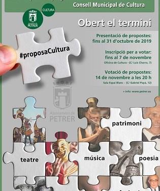 """La concejalía de Cultura de Petrer convoca la sexta edición de """"Proposa Cultura"""" para que vecinos y colectivos puedan presentar sus propuestas culturales"""