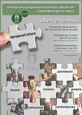 Convocada la setena edició de Proposa Cultura per a decidir, des de la participació de veïns i col·lectius, accions en l'àmbit de la cultura