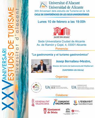 Josep Bernabeu parlarà de gastronomia i turisme gastronòmic a la Seu Ciutat d'Alacant