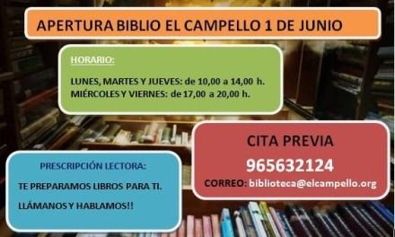 La BibliLa Biblioteca Municipal de El Campello obri demà dilluns les seues portes amb horaris alterns