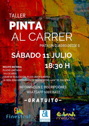 """La concejalía de juventud de Finestrat organiza una propuesta lúdica y artística en 3 ediciones titulada """"Pinta al carrer"""""""