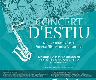La Sociedad Filarmónica Alteanense celebra este año su concierto de verano en la Plaza del Ayuntamiento de Altea