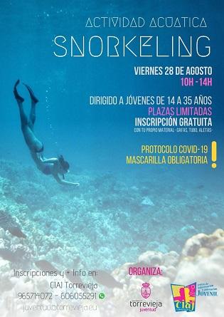 La regidoria de joventut de Torrevella organitza divendres, 28 d'agost, una activitat de snorkel