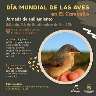 """Medioambiente de El Campello conmemora el """"Día Mundial de las Aves"""" con una jornada de anillamiento"""