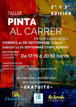 """Finestrat vuelve a sacar los lienzos a la calle con la próxima edición de """"Pinta al Carrer"""" que organiza la concejalía de juventud"""