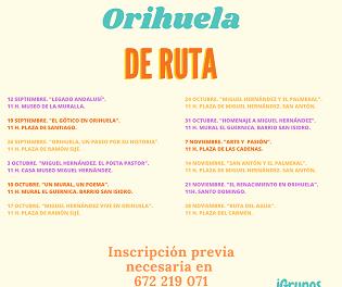 """Cultura presenta una nueva programación de """"Sábados de Ruta"""" para redescubrir Orihuela"""