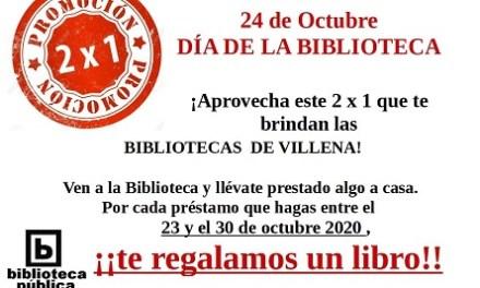 Las Bibliotecas de Villena organiza el '2×1', un libro regalo por cada libro en préstamo para celebrar del Día de las Bibliotecas