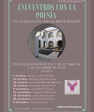 """Este próximo miércoles concluirá el V Ciclo de """"Encuentros con la Poesía"""" con José Luis Rico en la Biblioteca Pública Municipal """"María Moliner"""" de Orihuela"""