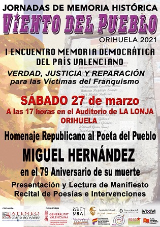 Este sábado se celebrará un homenaje republicano a Miguel Hernández en la Lonja de Orihuela con la colaboración de la Fundación del poeta