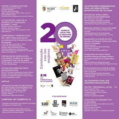La regidoria d'Igualtat de Villena organitza una sèrie d'actes commemoratius per al 8M