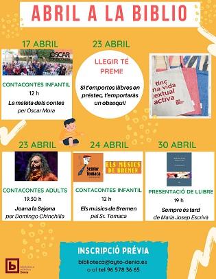 La Biblioteca Dénia organitza activitats per a totes les edats amb motiu del Dia del llibre