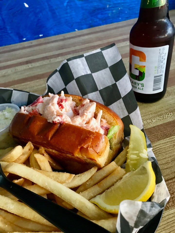 Lobster roll and beer