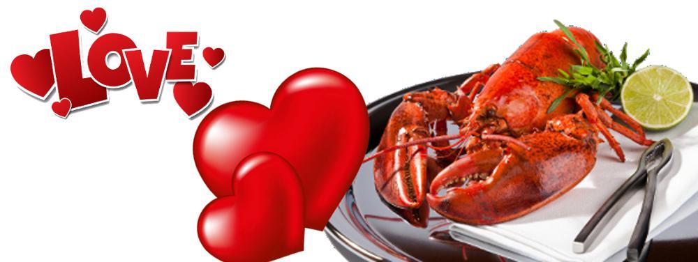 Lobster food of romantics on valentines day