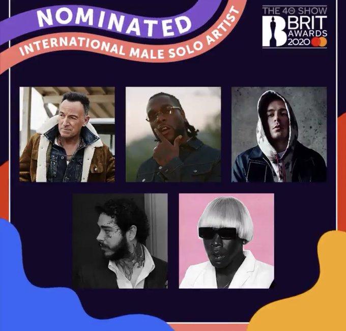 Burna Boy Bags Two Nominations At BRIT Awards 2020