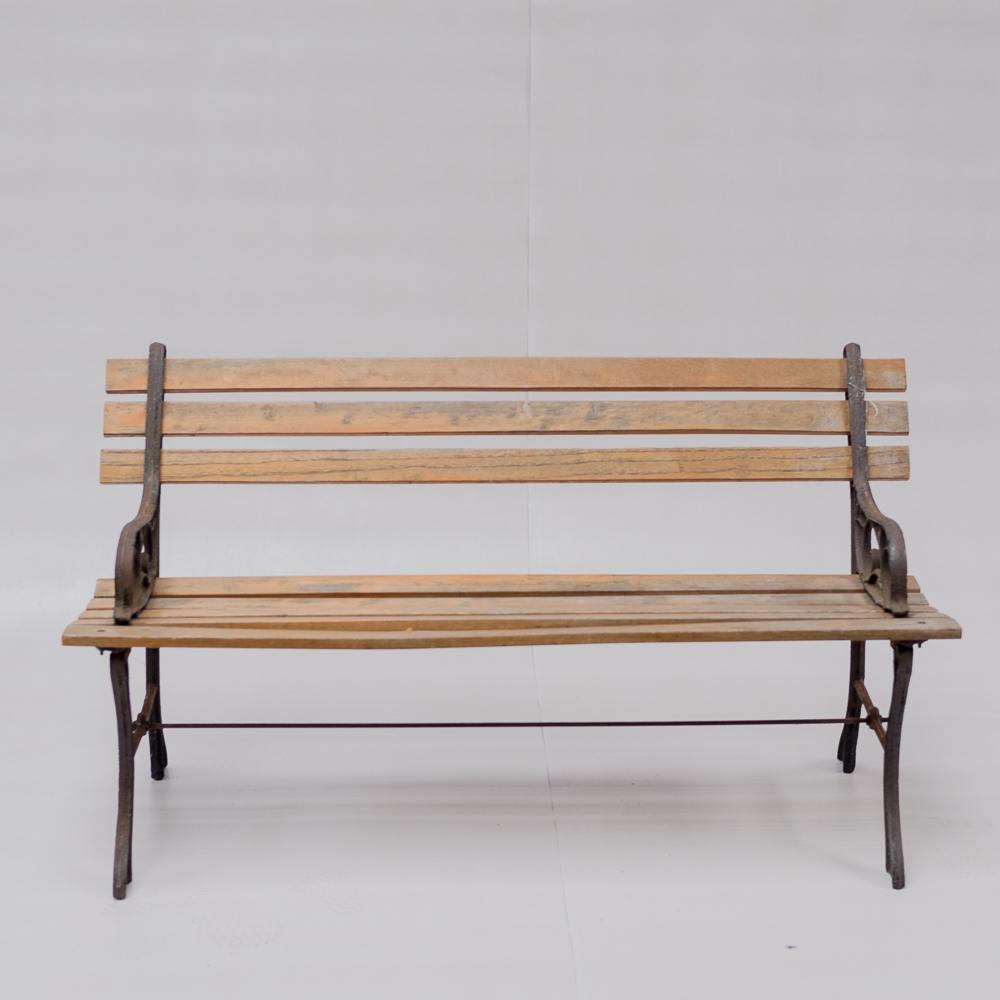 petit banc bois fer forge