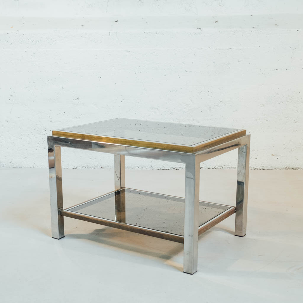 table basse jean charles chrome laiton verre fume