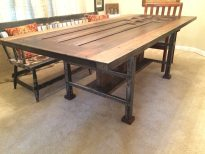 "Courtesy of Brad Bianchi 1929 Central Catholic High School door made into an industrial style dining table. 88""x40""x30"""