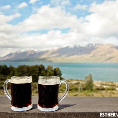 Enjoying the beer and the view at Lake Ohau Lodge New Zealand