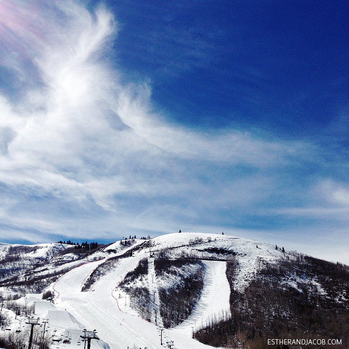 Snowboarding at Park City Mountain Resort Utah.
