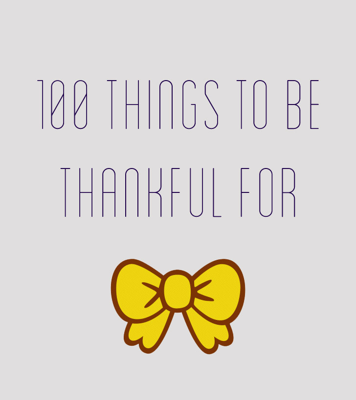100 things to be thankful for list.