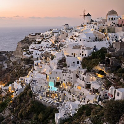 The best sunset in Oia Santorini Greece is at Oia Castle.
